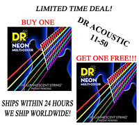 **DR HI-DEF NEON MULTI-COLOR ACOUSTIC GUITAR STRINGS (11-50) -- COATED STRINGS**