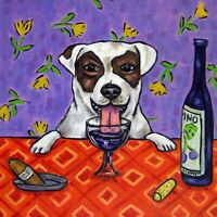 jack russell terrier dog art TILE coaster *GIFT JSCHMETZ wine american modern