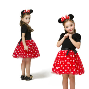 Girls Polka Dots Birthday Party Knee Length Dress With Mickey Mouse Headband