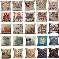 Cartoon Owl Cotton Linen Throw Pillow Case Cushion Cover Home Sofa