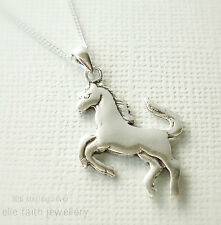 925 Solid Sterling Silver Horse Pendant Necklace With Chain & Gift Box