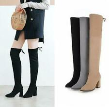 Women Stretch Suede Pointy Toe Thigh High Over Knee Block High Heel Boots 34-48