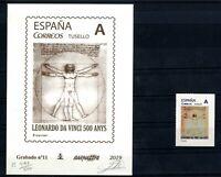 Grabado Barnafil 2019 nº 11 Leonardo Da Vinci mas sello personalizado España
