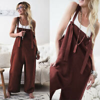Women's casual loose linen pants rompers jumpsuit strap harem trousers overalls