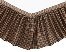 Prescott Queen Bedskirt : Brown Plaid Cottage Country Dust Ruffle Skirt