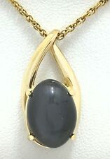 GENUINE 4.85 Cts GREY STAR SAPPHIRE 14K Gold Pendant *FREE APPRAISAL & SHIPPING