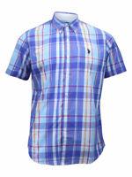 U.S. Polo Association Men's Short Sleeve Plaid Button Down Shirt