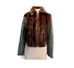 Iceberg Jeans Womens Sz 42, S Red Faux Fur And Denim Jacket