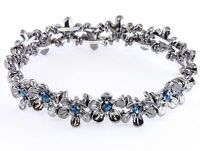 New Antique Silver Tone Blue Crystal Flower Bracelet in Gift Box