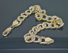 "10K Yellow Gold Cuban Bracelet With Diamond Cuts 9"", 10mm #A12B5"