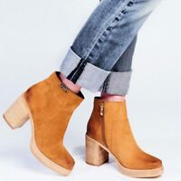 Womens Ladies Leather Platform Heeled Beige Camel Ankle Boot UK Size 3 4 5 6 7 8
