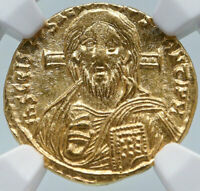 JUSTINIAN II Authentic Ancient GOLD Solidus FIRST JESUS CHRIST Coin NGC i85480
