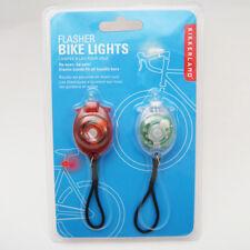 Kikkerland 2 Bicycle Reflector Lights LED Flashlight Flash Bike Flasher Safety