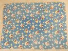Vintage Open Full Faded Feed Sack Flowers in a Basket Light Blue Background
