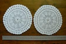 Unique Twin Hand CROCHET DOILIES Thick Cotton 2 @ 19cm IVORY Round