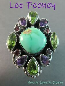 LEO FEENEY~Natural Royston Turquoise~Faceted Amethyst/Peridot/Tourmaline Ring