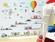 London Transport Balloon Monkey Bus Wall Sticker Decal Paper Children Nursery