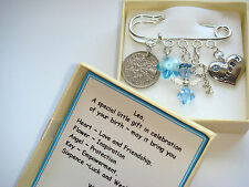 Personalised MADE WITH SWAROVSKI ELEMENT NEW BABY BOY BIRTH Boy Lucky Sixpence