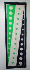 Vintage 70s Sally Gee Long Silk Scarf Navy/Green/White Big Dots