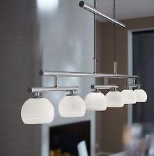 Wofi lampes suspendues Valley 6 Chrome verre blanc brillant réglable en hauteur