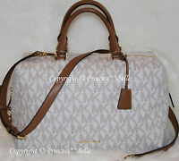 NWT MICHAEL KORS Kirby Large Satchel MK Logo Duffle Vanilla Purse Bag $348