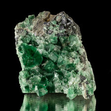 """3.3"""" Blue Green FLUORITE Wet-Look Hi-Gloss Crystals to .7"""" Rogerly M UK for sale"""