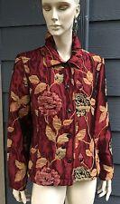 Coldwater Womens Blazer Coat Jacket Multicolor Floral Tapestry Side Slits Size L