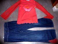 ensemble CLAYEUX jean pantalon + haut t-shirt fille taille 6 / 8 ans