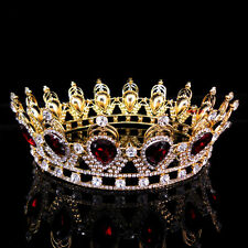 """6.75"""" Wide Large Ruby Red Crystal Gold King Crown Wedding Prom Party Pageant"""