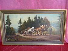 schönes,altes,großes Gemälde__Holzabfuhr mit Pferdegespann__signiert !
