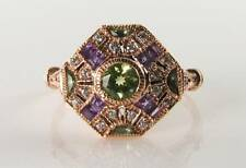 SUFFRAGETTE 9K 9CT ROSE GOLD PERIDOT AMETHYST DIAMOND ART DECO INS RING FREE Sz