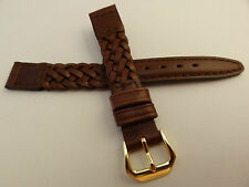 New Kreisler Brown Woven Braided Leather 13mm Watch Band $16.88 Gold Tone Buckle