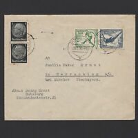 GERMANY 1936, Mi # W105 (611+610), Cover from Duisberg to Munich, Soccer, Sport