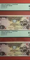2007-UAE-5 DIRHAMS 2 CONSECUTIVE BANKNOTE ,GRADED BY PCGS GEM NEW 65&66 PPQ.