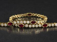 Wertvolles Brillant Rubin Tennis Armband ca. 3,70ct  15,7g 750/- Gelbgold