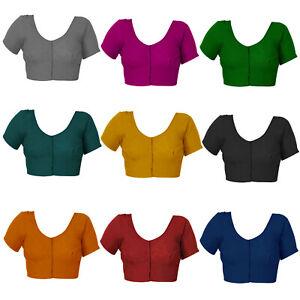 Damen Baumwollbluse genähte kurze Ärmel Handarbeit passend für Saree Bluse