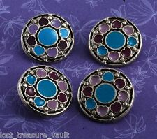 Set Of 4 Sewing Buttons Purple Blue Enamel Hearts Silver Tone Metal