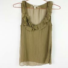 Burberry Brit Women's Size SP Sheer Sleeveless Ruffled Tank Top Blouse Olive