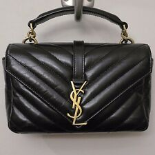 Saint Laurent YSL Monogram Mini College Black Gold Chevron Leather Crossbody Bag
