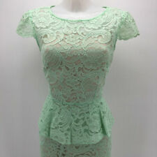 Tahari Green Lace Short Sleeve Peplum Dress Size 8