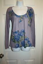 NEW Women's DECREE Purple Floral Long Sleeve Graphic Shirt Tee Jrs Size Medium M