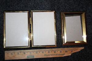 small vintage picture frames brass gold tone velvet backed 1 bi-fold 8 inch