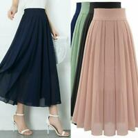 Summer Women Chiffon High Waist Maxi Dress Skater Flared Pleated Long Skirt BOHO