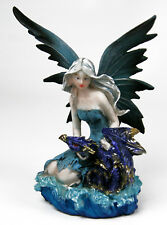 """5"""" Fairy Figurine with Blue Dragon in Aqua Dress - quality resin great detail"""