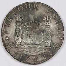 MEXICO 1738 Mo 8 REALES Pillar Dollar Silver Coin VF+ KM#103 REYGERSDAHL SALVAGE