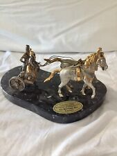 Antique Italian Figurine Statue. Bronze, gold/silver plated on marble