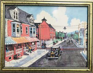 """Vintage Street Scene Art Print Framed 8""""x12"""""""