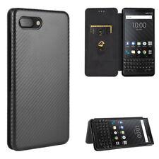 For BlackBerry Key 2 Flip Carbon Fiber Stand Leather Wallet Case Cover
