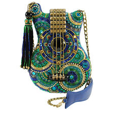 Mary Frances Blue Note Guitar Green Music Acoustic Fender Beaded Handbag Bag New