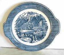 CURRIER and IVES Vintage ROYAL CHINA BLUE Rockies Cake Plate Platter  FREE SH
